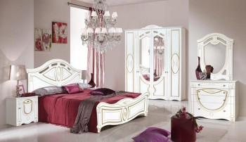 set-dormitor-alexandrina-cu-dulap-4-usi-comoda-pat-si-noptiere-mdf-alb-auriu-mp-666